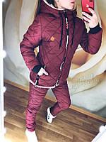 Женский зимний костюм, плащёвка + синтепон 200, р-р 42-44; 44-46; 48-50 (бордовый)