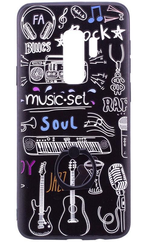 Чохол-накладка для Samsung Galaxy S9 Plus TPU з кільцем Чорний/ Музика