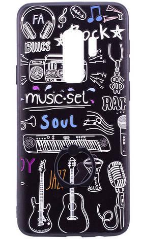 Чохол-накладка для Samsung Galaxy S9 Plus TPU з кільцем Чорний/ Музика, фото 2