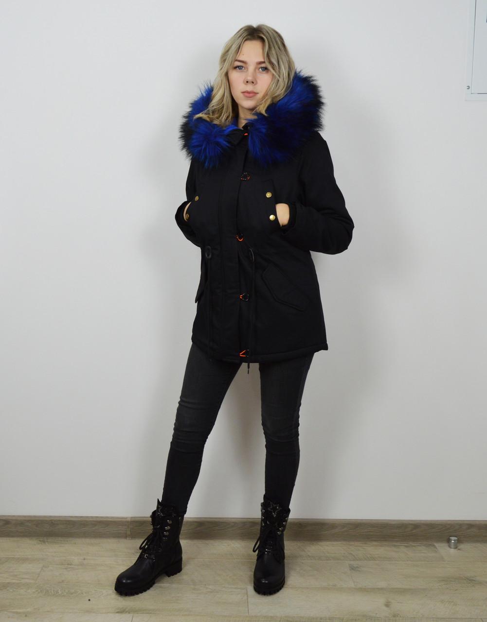 Куртка-парку чорно-синя 1102 M розмір