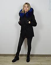 Куртка-парка черно-синяя 1102 M размер