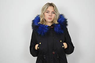 Куртка-парку чорно-синя 1102 M розмір, фото 3