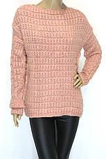 жіночий в'язаний светр шоколадного кольору, фото 2