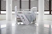 Бортики в детскую кроватку, наполнитель - отбеленный хлопок, САТИН 100% 3 шт, 35см/60 см