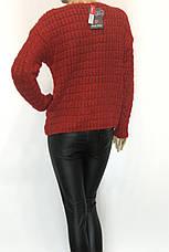 Вязаний модный  женский свитер красного цвета, фото 3