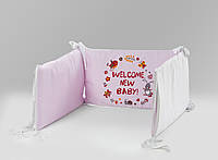 Защитные бортики в кроватку 100% сатин, наполнитель отбеленный хлопок, WELCOME NEW BABY, розовые