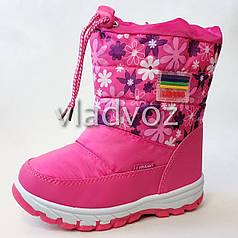 Детские дутики зимние сапоги на зиму для девочки розовые Libang 28р.