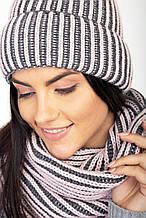 Зимний вязаный набор шапка с хомутом крупной вязки