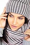 Зимний вязаный набор шапка с хомутом крупной вязки, фото 3