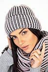 Зимний вязаный набор шапка с хомутом крупной вязки, фото 4