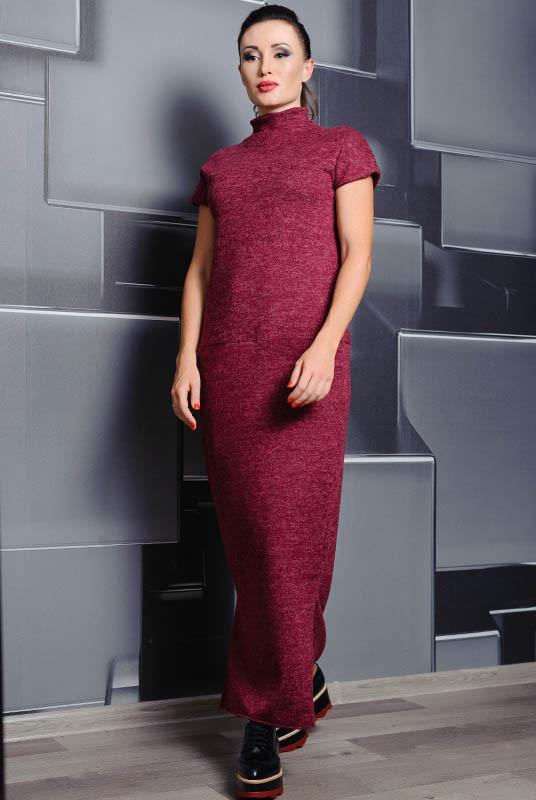 Бордовое длинное платье Нинель