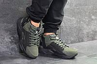 Мужские зимние кроссовки в стиле Nike Huarache, 6773 темно зеленые