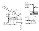 Потенциометр (переменный резистор) линейный роторный.  Сопротивление 2 КОм. 1 шт, фото 2