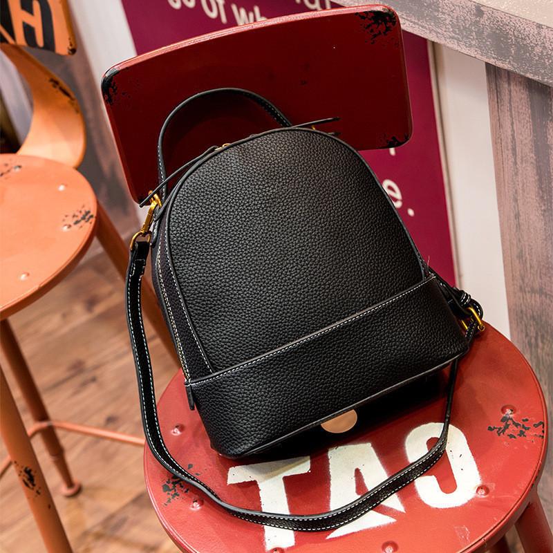 Сумка-рюкзак женский маленький из натуральной кожи черный опт