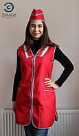 Фартук-халат для продавца, парикмахера, горничной L-01 габардин цвет красный