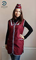 Халат, униформа для продавца, парикмахера, горничной L-01 габардин цвет бордовый