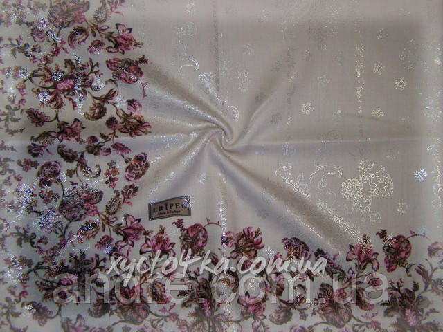 Кашемировый платок Горошек напыление (белый черные горошки)