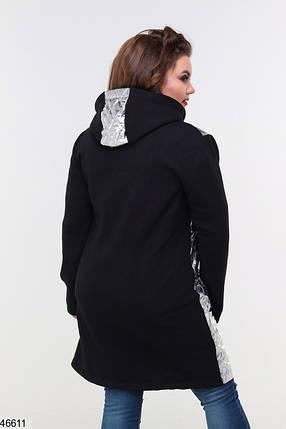 Женская туника-толстовка из турецкой трехнитки с начесом, синтепон Большие размеры 48-50, 52-54, фото 2
