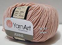 Нитки пряжа для вязания хлопок акрил JEANS Джинс от YarnArt Ярнарт № 83 - пудра