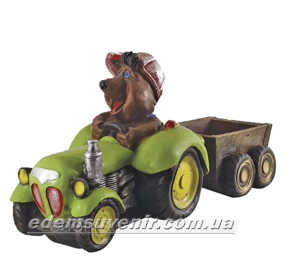 Садовая фигура Крот тракторист
