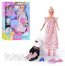 Кукла для девочки DEFA 8009 беременная, с одеждой, 2 ребенка, аксессуары