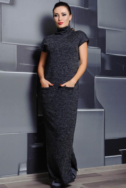 Теплое длинное платье Нинель, графит