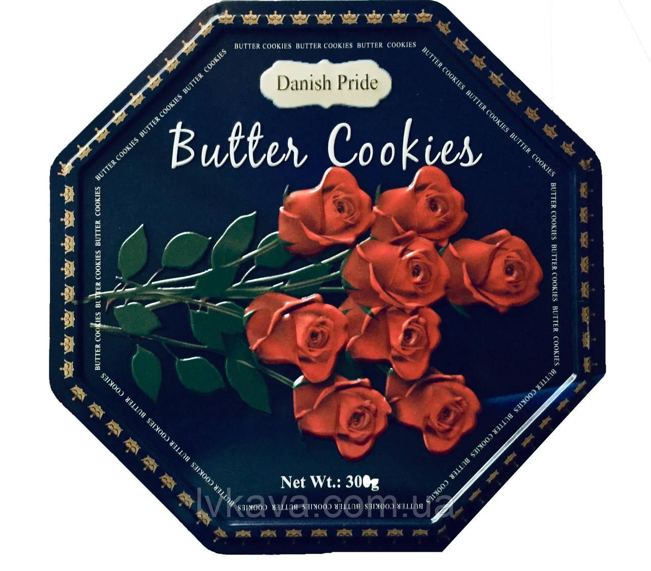 Печенье ассорти Butter cookies Розы Danish Pride, 300 гр, ж\б