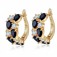 """Серьги """"Dior black"""" позолоченные с кристаллами swarovski"""