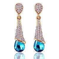 """Клипсы """"Damiani blue"""" позолоченные с кристаллами swarovski"""