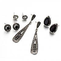 "Комплект серьг ""Lacoste silver 2"" покрытие серебро с кристаллами swarovski и жемчугом"