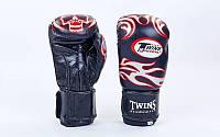 Перчатки боксерские кожаные на липучке TWINS (черный-красный)