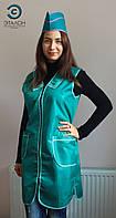 Халат, униформа для продавца, парикмахера, горничной L-02 нейлон цвет зеленый