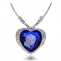 """Подвеска """"Ocean heart"""" покрытие серебро с кристаллами swarovski"""