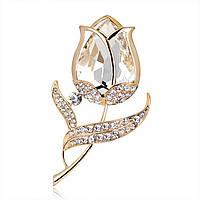 """Брошь """"Zara"""" позолоченная с кристаллами swarovski"""
