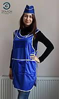 Фартук-халат для продавца, парикмахера, горничной L-03 нейлон цвет голубой