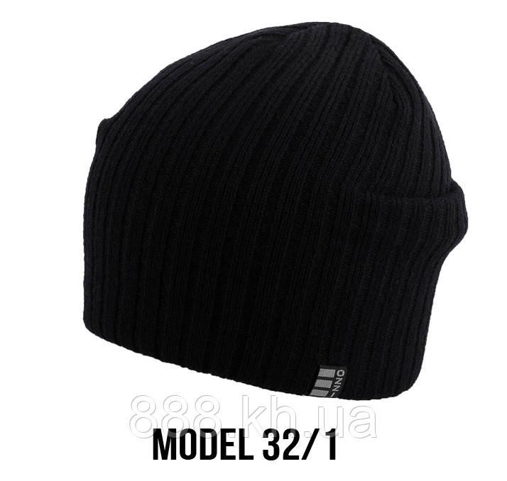 Мужская шапка Ozzi, шапка на флисе, шапка носок, шапка чулок черный