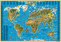Карта мира для детей на картоне и планке