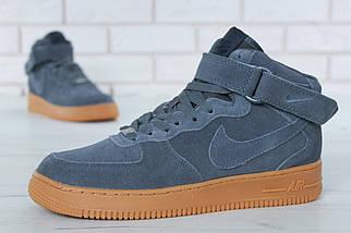 """Зимние мужские кроссовки Nike Air Force 1 High """"Grey"""" c мехом, фото 3"""