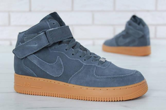 """Зимние мужские кроссовки Nike Air Force 1 High """"Grey"""" c мехом, фото 2"""