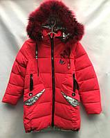 Детская удлинённая зимняя куртка для девочки, 7-11лет, коралловая, фото 1
