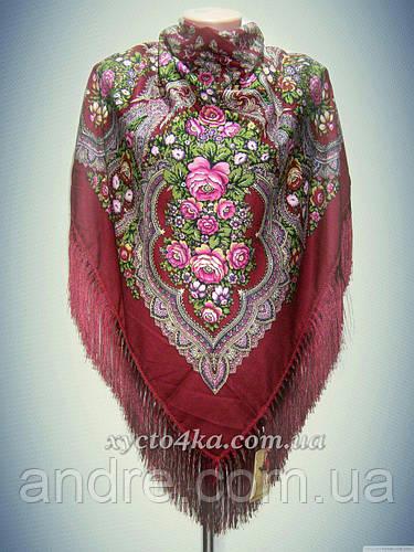 Шерстяной платок с пышной бахромой Розы, красный 120см