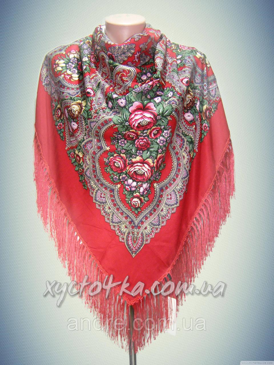 Шерстяной платок с пышной бахромой дыхание лета, красный 120см