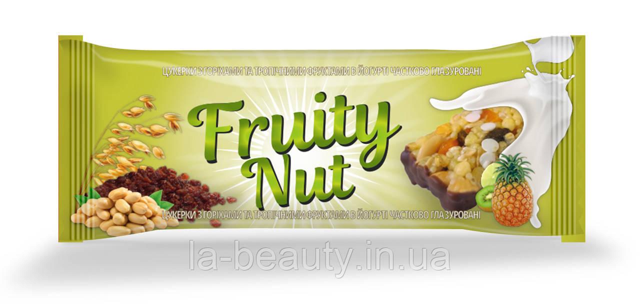 Дизайн упаковки / этикетки шоколадного батончика / конфет Fruity Nut Тропики