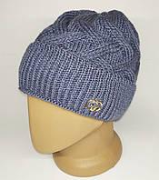 Женская шапка с отворотом.  Полностью на флисовой подкладке. Джинс, фото 1