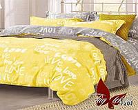 """Комплект постельного белья 2 спальный """"LOVE желтое"""" ренфорс"""