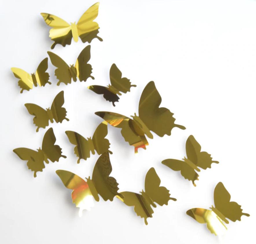 3D бабочки наклейки 12 шт золото 50-120 мм