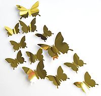 3D бабочки наклейки 12 шт золото 50-120 мм (товар при заказе от 200 грн)