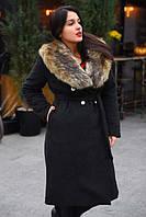 """Тёплое женское пальто средней длины на силиконе в больших размерах 8083-2 """"Кашемир Енот Мех"""" в расцветках"""