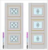 Двери межкомнатные, Родос, Versal, Irida, со стеклом и рисунком, grand molding