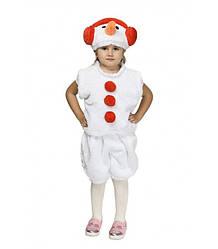 Карнавальный костюм СНЕГОВИК, СНЕГОВИЧОК на 3-7 лет, рост 104-122 см. Детский новогодний костюм Снеговик